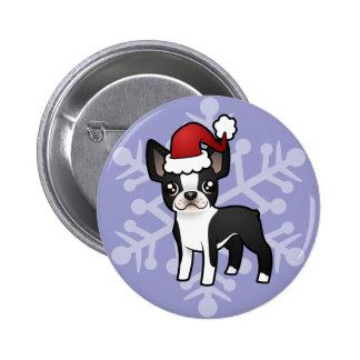 Christmas Boston Terrier 2 Inch Round Button
