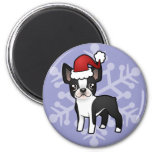 Christmas Boston Terrier 2 Inch Round Magnet