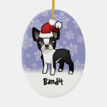 Christmas Boston Terrier (add your pets name) Ceramic Ornament
