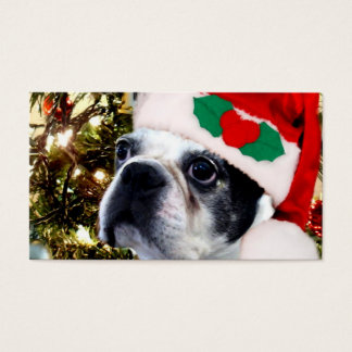 Christmas Boston terrier Business Card