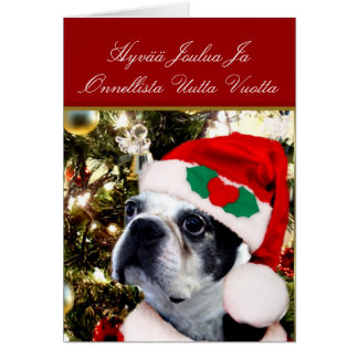 Christmas Boston terrier Card