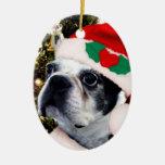 Christmas boston terrier ceramic ornament