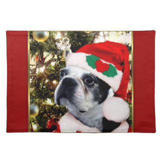 Christmas Boston terrier Cloth Placemat