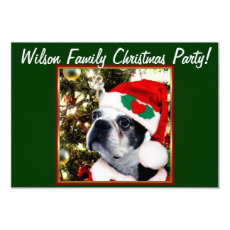 Christmas Boston Terrier dog 3.5x5 Paper Invitation Card