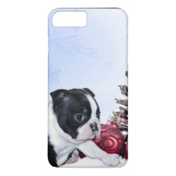 Christmas Boston Terrier dog iPhone 7 plus case