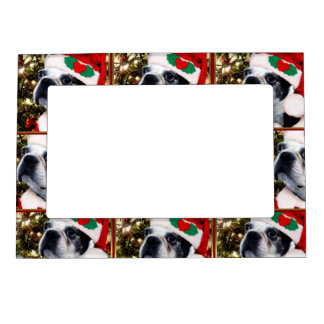 Christmas Boston Terrier dog Magnetic Picture Frame
