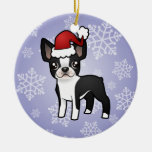 Christmas Boston Terrier Double-Sided Ceramic Round Christmas Ornament