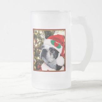 Christmas Boston terrier Frosted Glass Beer Mug