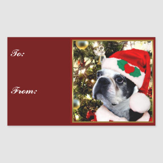 Christmas Boston terrier gift tag