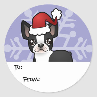 Christmas Boston Terrier Gift Tags