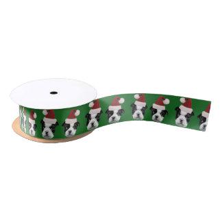 "Christmas Boston Terrier Green 1.5"" satin ribbon"