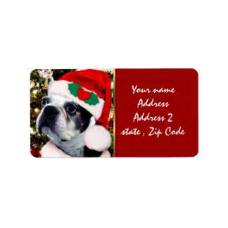 Christmas Boston terrier Personalized Address Labels