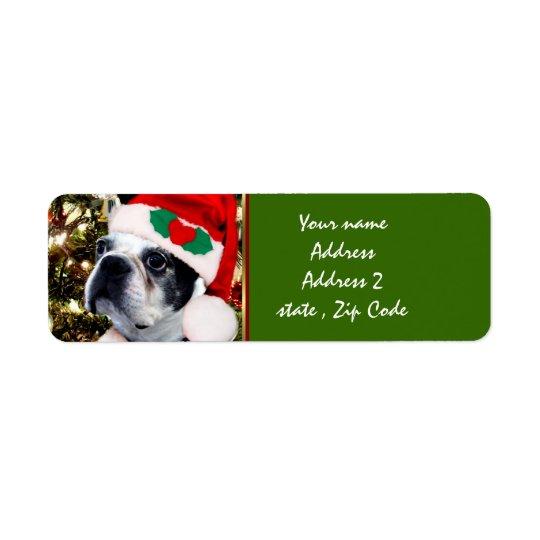 Christmas Boston terrier Label