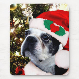 Christmas Boston terrier Mouse Pad