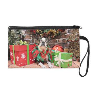 Christmas - Boston Terrier - Natty Wristlet Purse