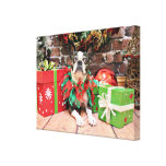 Christmas - Boston Terrier - Natty Stretched Canvas Print