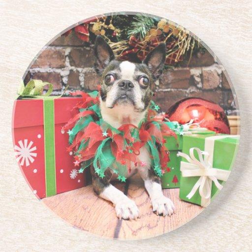 Christmas - Boston Terrier - Natty Beverage Coaster