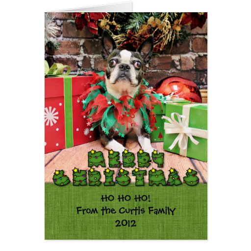 Christmas - Boston Terrier - Natty Greeting Card