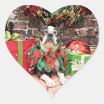 Christmas - Boston Terrier - Natty Heart Sticker