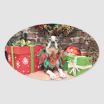 Christmas - Boston Terrier - Natty Sticker