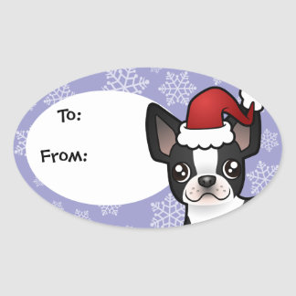 Christmas Boston Terrier Oval Sticker