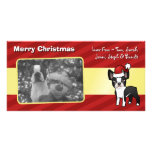 Christmas Boston Terrier Photo Card Template