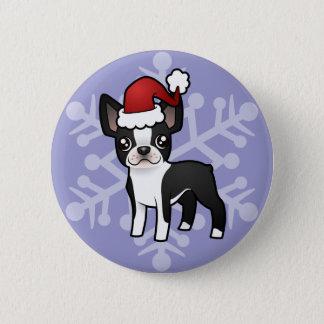 Christmas Boston Terrier Pinback Button