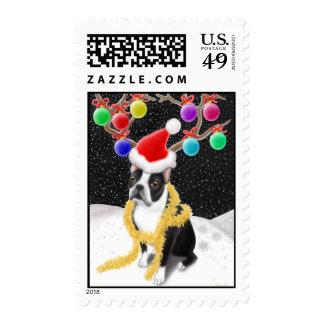 Christmas Boston Terrier Postage Stamp