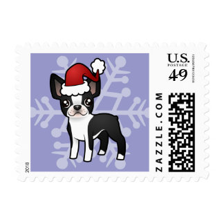 Christmas Boston Terrier Postage Stamps