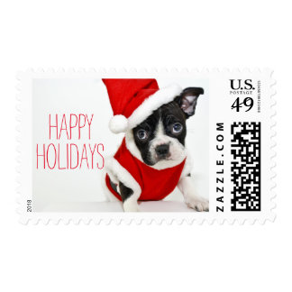 Christmas boston terrier postage