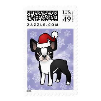 Christmas Boston Terrier Stamp