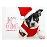 Christmas boston terrier postcard