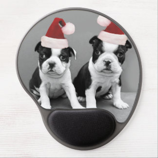 Christmas Boston Terrier puppies Gel Mouse Pad