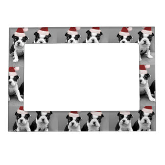 Christmas Boston Terrier puppies Magnetic Photo Frame