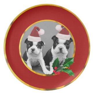Christmas Boston Terrier puppies Melamine Plate