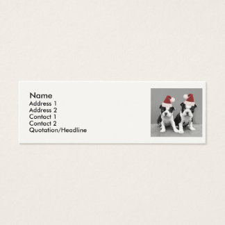 Christmas Boston Terrier puppies Mini Business Card