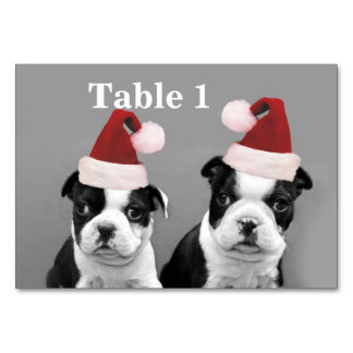 Christmas Boston Terrier puppies Table Card