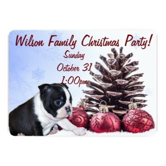 Christmas Boston Terrier Puppy 5x7 Paper Invitation Card