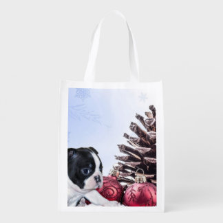 Christmas Boston Terrier Puppy Grocery Bags