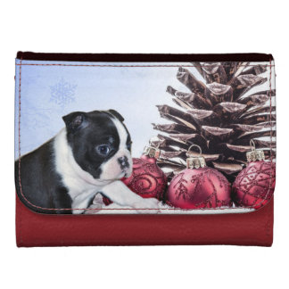 Christmas Boston Terrier Puppy Leather Wallet For Women