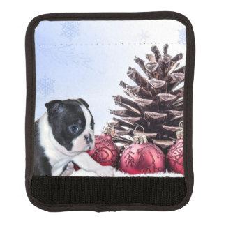 Christmas Boston Terrier Puppy Luggage Handle Wrap