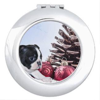 Christmas Boston Terrier Puppy Makeup Mirrors