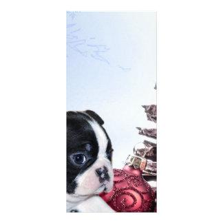 Christmas Boston Terrier Puppy Custom Rack Cards