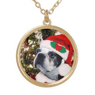 Christmas Boston terrier Round Pendant Necklace