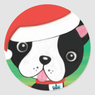 Christmas  Boston Terrier Sticker
