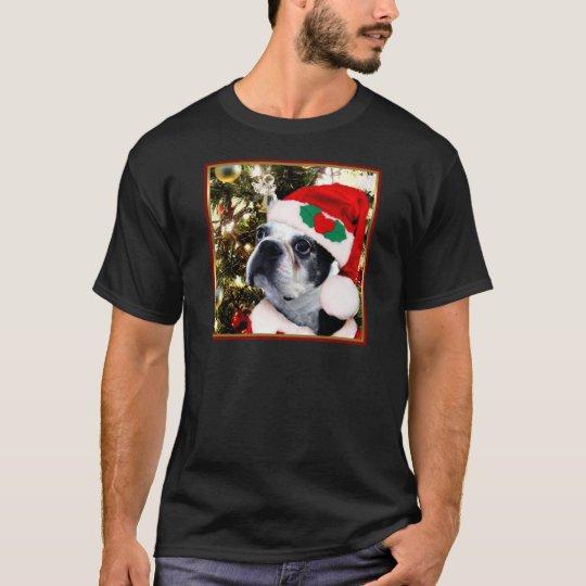 Christmas boston terrier T-shirt