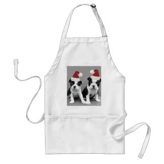 Christmas Boston Terriers Adult Apron