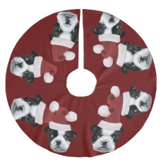 Christmas Boston Terriers Brushed Polyester Tree Skirt