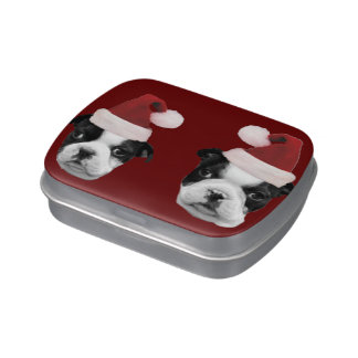 Christmas Boston Terriers Candy Tin