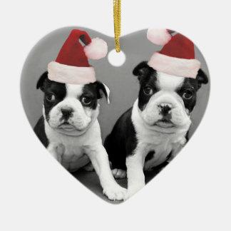 Christmas Boston terriers Ceramic Ornament